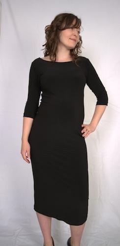 Boatneck Maternity Dress Black 007-08A